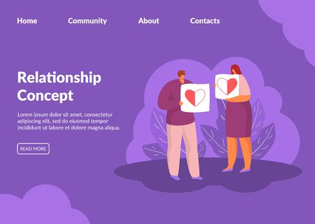 Relations between man and woman vector illustration Valentine day concept website. Couple of people holding two halves of one heart. Dating, love, relationship, family. Internet page relationship.