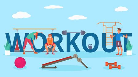 People at workout gym body training vector illustration. Workout lettering. Happy smiling young athletes man woman girl doing physical exercises, squats, tilts. Ball, fitness equipment. Stock Illustratie