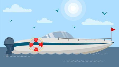 Floating motor speed boat vector illustration flat. Vessel yacht ship with lifebuoy at sea ocean lake water. Luxury vacation sport marine leisure travel transport. Sky and gulls.