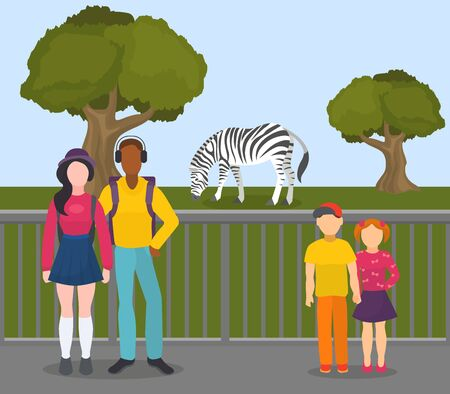 Zebra in zoo vector illustration flat. People visitors children boy and girl, young couple woman, man. Wild animal zebra walks outdoors in open air on grass behind fence at zoological garden.