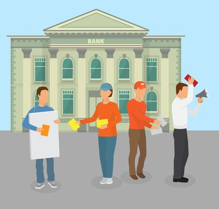 Protesting people group in picket in front of bank building facade vector illustration. Demonstration of activists with leaflets and speaker against financial economic crisis and bank policy.
