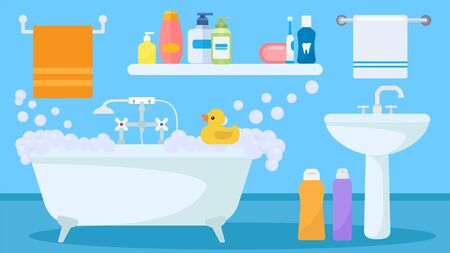 Bathroom interior with soapy foam water filled tub and toy duck for child playing vector illustration. Sink, bath items, accessories towels, shower gel and shampoo bottles, toothbrush. Vektorové ilustrace
