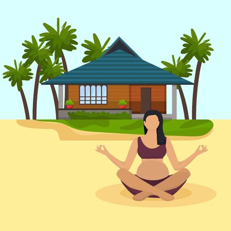 Pregnant woman meditation sit on sandy beach in lotus position vector illustration. Girl practicing yoga during pregnancy. Ocean shore seaside rest, vacation, house bungalow, palm trees.