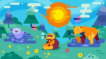 Family or group of bears in wood glade vector illustration. Wild animals adult bears and little cute teddy at edge of forest near water lake river. Bear father caught fish. 向量圖像