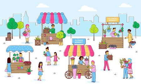 Flowers street market with people selling and shopping plants at florists, cartoon line vector illustration. Flower market with counters, man and woman carrying baskets and bouquets.