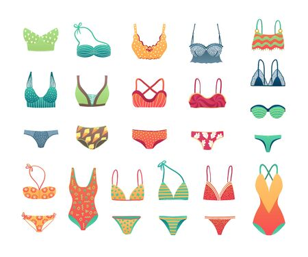 Summer beach bikini and swimwear set, girls and womans underwear lingerie vector illustration. Swimming suits collection. Ladies swimsuit for summer vacation. Bikini trendy collection.