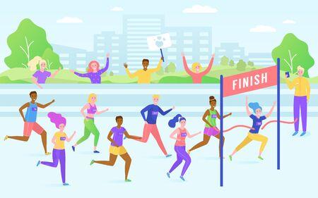 Marathon finish race, running competition, athlete sprinter sportsmen, healthy people run line vector illustration. Distance marathon or sport winner crossing finish line in park and sportsfans.
