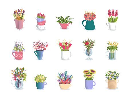 Multicolored flowers in mugs, florist compositions of tulips, orchids, lilies, daisies and sunflowers in floral cups vector illustration set. Garden and wild flowers in ceramic and glass mugs.