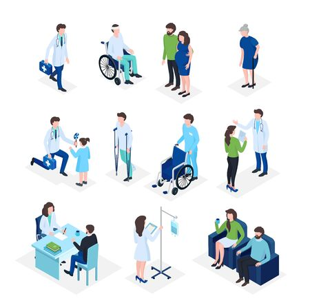 Isometric doctors and patients medical healthcare, medicine insurance in hospital, medics staff flat 3d vector illustration. Elder people, patient on wheelchair, kids with doctor and pregnant health.