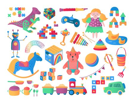 Kids and children toys icon collection cartoon vector illustration. Bear, games, car, train and dolls, blocks gifts from toyshop for boys and girls, childrens toys collection set isolated on white.