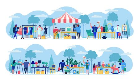 Flea market with people selling old secondhand stuffs at market fair shops flat vector illustration. Streets of flea marketplace with vintage retro cloths, toys and antique, garage sale. Vettoriali