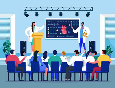 Medical seminar conference with doctors meeting on heart medicine healthcare treatment vector illustration. Meeting room for medics workshop presentation with people and doctor speaker.