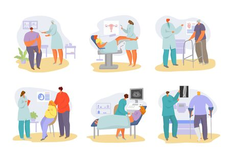 Doctors appointment with patients at hospital and medical consultation in clinic vector illustration. Physician doctor and patients people for medics diagnosis and medicine treatment for illness.