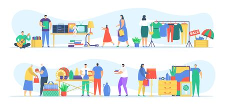 People at flea market, man and woman selling old secondhand stuffs at market fair shops flat vector illustration. People on flea marketplace with vintage retro cloths, toys and antique, garage sale. Illustration