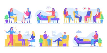 People help in psychotherapies, talk to psychologist, group therapy, hypnosis, family collection vector illustrations set. Psychotherapy counseling for psychological problems, depression and health. Ilustração