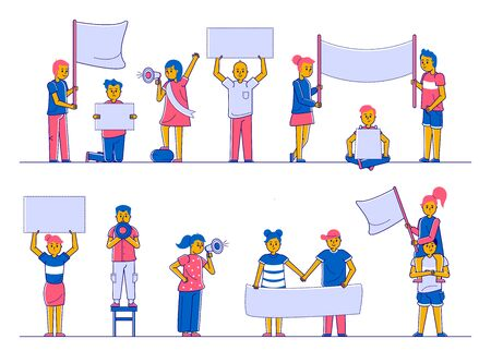Protest people on demonstration crowd holding megaphones, flags and placards collection of flat isolated line vector illustration. Protesting polotical activists people set of women, men, children.