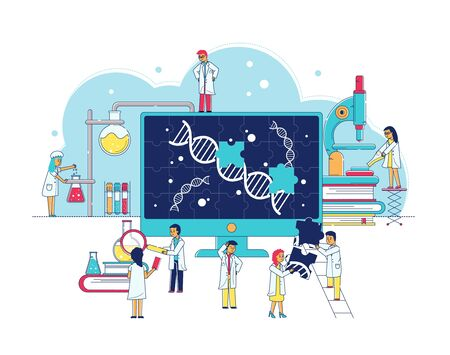 Genetic research laboratory of bitechnology, scientists study gene dna, biochemical lab interior flat vector illustration. Experiment of genetical research and highly technological equipment, science people. Stock Illustratie