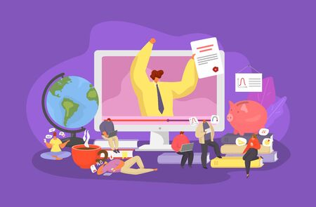 Online education, training courses, specialization, university studies digital classroom with young people vector illustration. E-learning with lector gives lecture online and students with laptops.