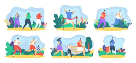 Runner people jogging healthy athletes characters, sport set flat vector illustration. Men, women running marathon race, eldery people. People runners training to competition isolated design elements.