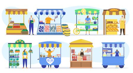 Street shops stall market, vendor booths and farm market food counters vector flat cartoon icons set, vector illustration. Vegetables, fish store, bakery kiosk and meat shop street fair marketing. 일러스트