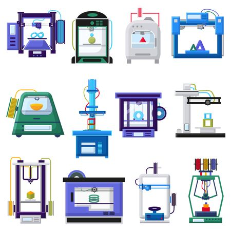 3d printers and layout rapid prototyping vector illustration. Process of 3d printing, modeling and scanning objects. Print in laboratory, plastic technologies engineering of future medicine concept.