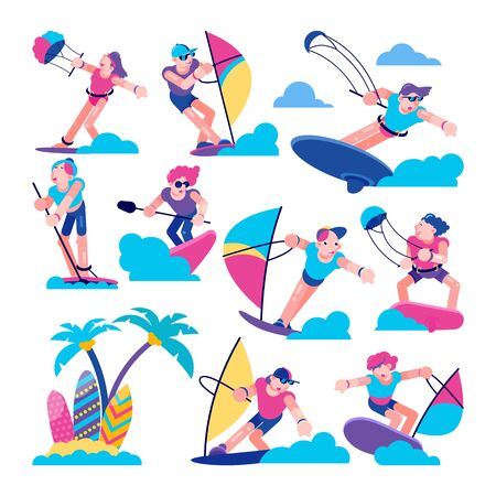 Windsurfers Happy people kitesurfers sailor characters in the sea flat line vector illustration. Kitesurfers and windsurfers surfing,summer vacation, extreme sport experience, surfboards and beach.