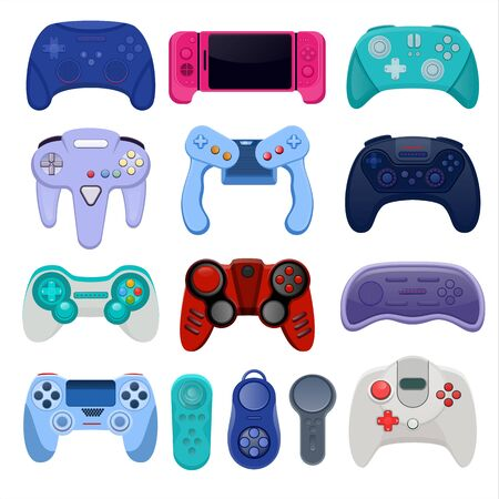 Game controllers and joysticks isolated on white background vector illustration. Controllers collection for video games on computer or gamer console