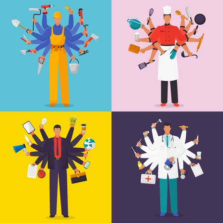 Busy men with many hands vector illustration. Professional men in working suits with twelve hands holding instruments. Builder, chef, doctor and businessman handling multitasking and multi skill. Vettoriali