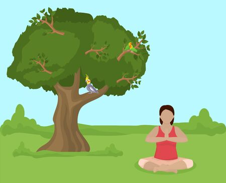 Meditating young woman sitting in lotus yoga position on nature vector illustration. Girl practices yoga outdoor in open air. Healthy lifestyle, wellness, sport and activity. Tree, parrot birds.