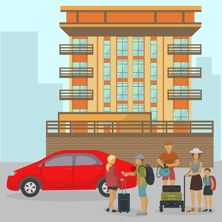 Travelers family or people tourists group with luggage suitcases standing near car and house building vector illustration. Departure from home, travel start or waiting for hotel, apartment check in.