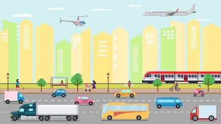 City transportation concept vector illustration. Urban road street transport traffic and people. Cars, bus, trucks, train taxi. Air transportation plane, helicopter. Public stop, buildings, houses.
