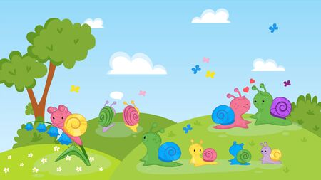 Happy couple, family of snails animals on nature vector illustration. Cartoon colorful cute smiling adult snails, mother with children walk on grassland. Flowers, trees, butterflies. 向量圖像