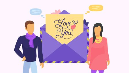 Couple of people man, woman and envelope with card and lettering love you vector illustration. Congratulation on Valentines Day, wedding. Heart, dove decoration, speech bubbles.
