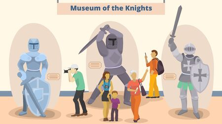 Museum of knights vector illustration. Different people men, women, child visitors to museum exposition of medieval knighthood chivalry. Family educational pastime, sightseeing. Ilustração