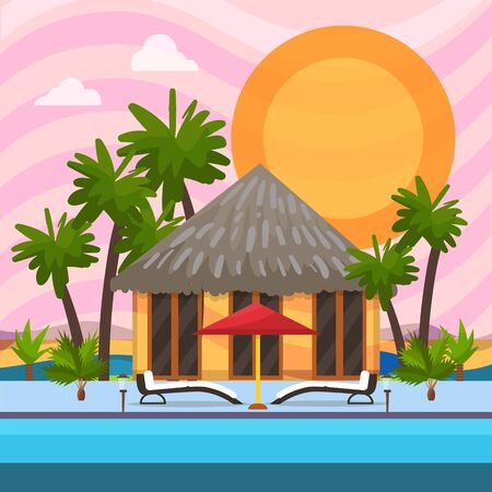 Tropical vacation vector illustration. Summer bungalow house villa near water pool seaside shore. Sunbeds, umbrella, palm trees. Exotic travel tourism luxury leisure. Nobody.