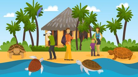 People group on excursion watching wild turtles on ocean sea shore vector illustration. Tourists vacation trip to tropical exotic island with marine animals turtles. Palm trees, bungalow, parrot. Çizim
