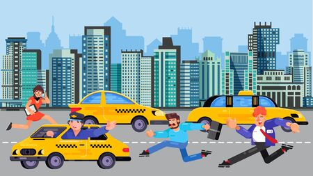 Running business people men, woman late for work rushing to catch taxi car vector illustration. Businessmen hurry to yellow taxi transportation, road, city street, houses and buildings of megalopolis.