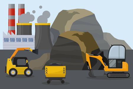 Coal mining industry facilities concept vector illustration. Mine, machine bulldozer excavator, equipment for coal extraction station field. Smoking chimney of factory plant.