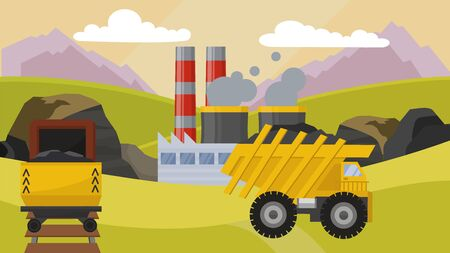 Coal mining industry facilities concept vector illustration. Mine, machine dump truck rail trolley equipment for coal extraction production station field. Smoking chimney of factory plant.