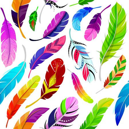 Feathers seamless pattern vector illustration in flat style. Colored different light soaring magic feathers isolated decorative quill watercolor white background.