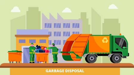 Garbage disposal truck dustcart, dumpsters and two scavengers janitors people sorting and collecting trash can, vector illustration. Waste removal recycling concept. City buildings background.