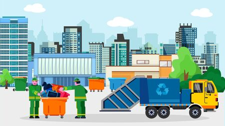 Waste disposal removal recycling concept vector illustration. Garbage truck van dustcart, dumpsters and two scavengers janitors people sorting collecting trash. Megalopolis city buildings background. Illustration