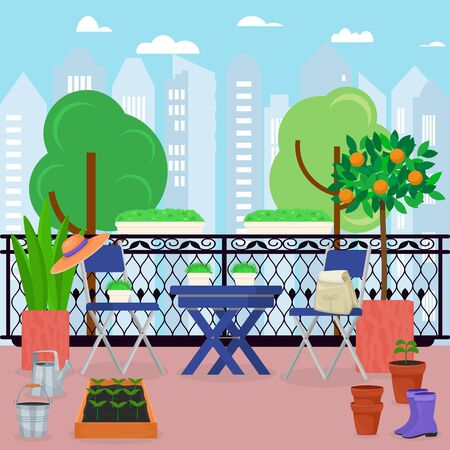 Urban house balcony veranda with gardening furniture vector illustration. Balcony decorated with trees plants flowers pots. Table, chairs, rubber boots, watering can. City buildings background. Ilustração Vetorial