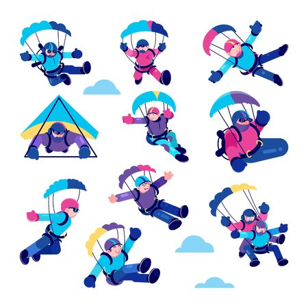 Paragliding happy people vector illustrations. Cartoon active paraglider smiling skydiver in clouds, falling paragliding character with parachute, risk extreme adrenaline sport set isolated on white