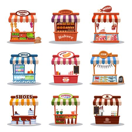 Stall street market vector illustrations. Food market kiosk with fastfood, streetfood, coffee milk or meat hotdog shop. Cartoon fruit vegetable stand, bakery, marketplace with shoes and flowers set