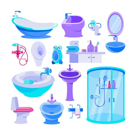 Bath equipment for bathroom vector illustration set. Cartoon toilet bowl and seat, bathtub, furniture, toiletry, sanitation and human body hygiene items. Sanitary ware isolated collection Stock Illustratie