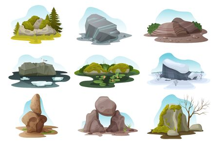 Boulder and rock stone isolated vector illustration set. Cartoon different pile of multicolored texture boulders with moss, grass and treees in all nature seasons, rocky natural landscape with stones