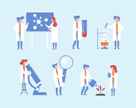 Scientist working, science research vector illustration set. Cartoon flat people, tiny woman man character with lab microscope, magnifying glass scientific equipment doing experiment in laboratory Vettoriali