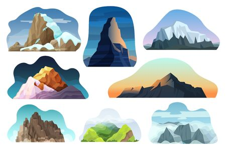 Mountain hill landscape vector illustration set. Cartoon flat nature high rock, hillside, multicolored rocky peak with clouds collection. Extreme snowy mountainous scenery icons isolated on white