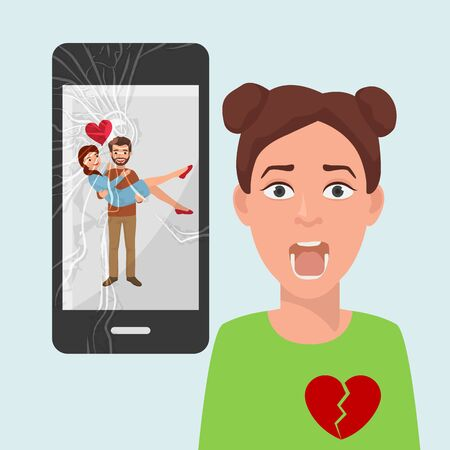 Sad girl with broken heart because of boyfriends photo with another woman on social media vector illustration. Beloved man holds rival in his arms, happy couple image on broken smartphone screen. Illustration